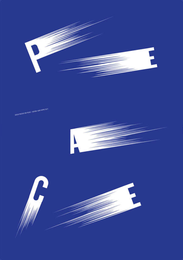 Royal blue background with the letters P, E, A, C, E moving left and right with zoom lines.