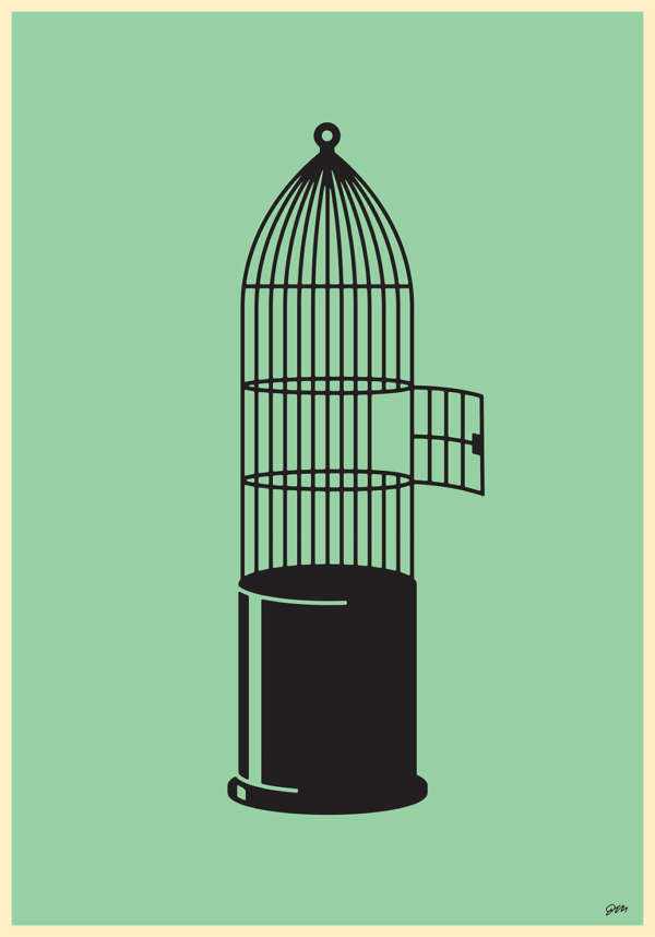 An empty bird cage with the door open. The shape of the cage also looks like a bullet set against a muted green background.