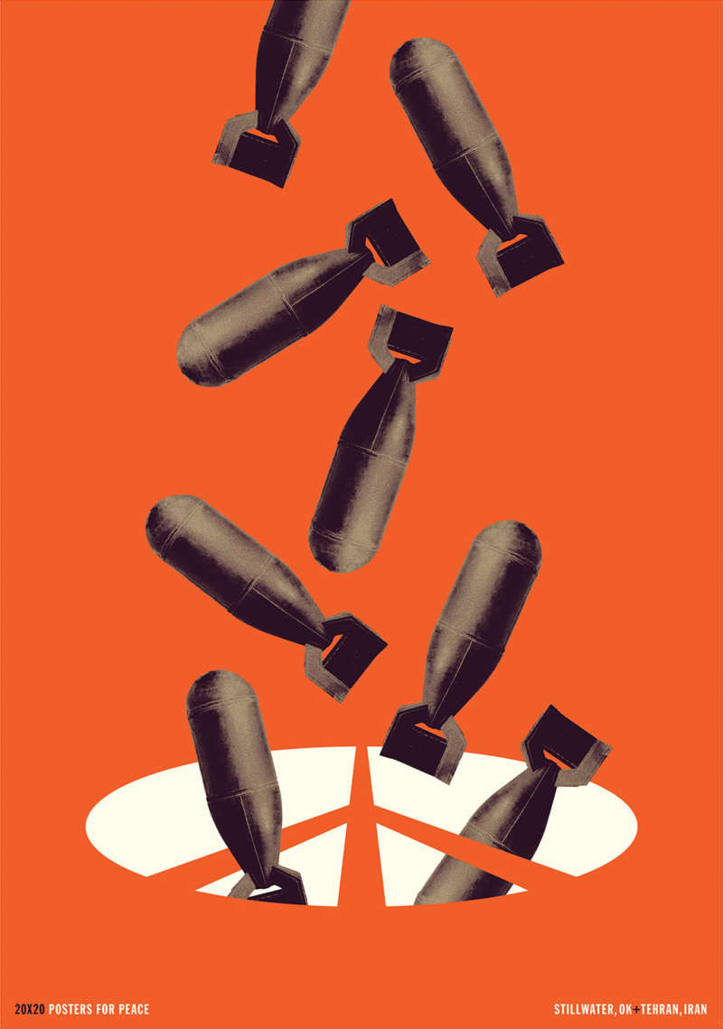 Large bombs fall from the top into a peace symbol on the bottom against a bright orange background.