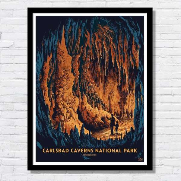 Beautiful illustration of the caves of Carlsbad Caverns National Park.