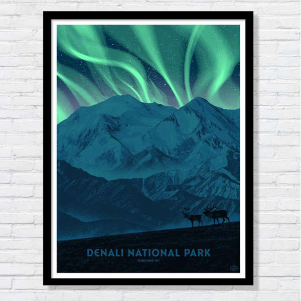 Beautiful illustration of the mountains under the northern lights at Denali National Park.