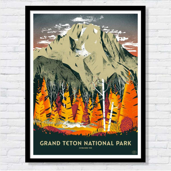 Beautiful illustration of the forest and mountains of Grand Teton National Park.