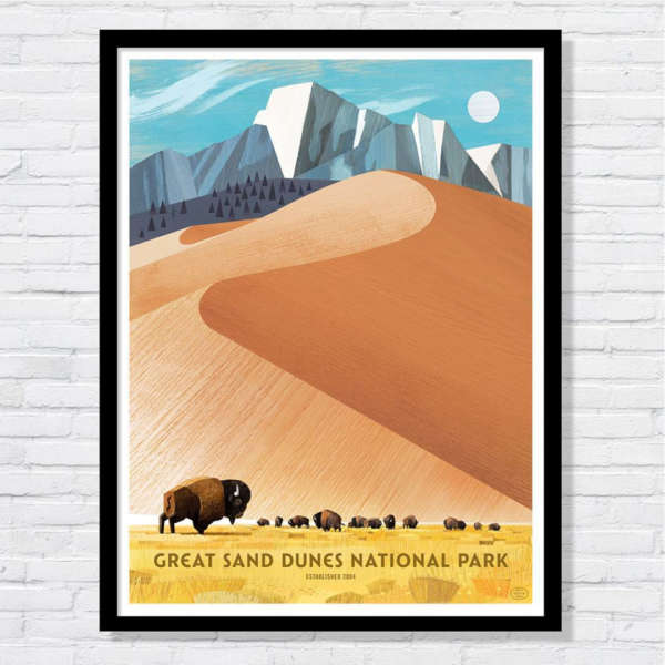 Beautiful illustration of buffalo below the dunes of Great Sand Dunes National Park.