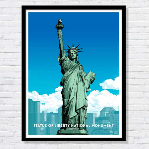 Beautiful illustration of the Statue of Liberty National Monument against the New York City skyline.