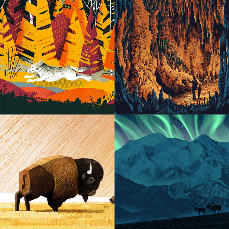 Illustrated squares of a fox, a cavern, a buffalo, and a mountain.