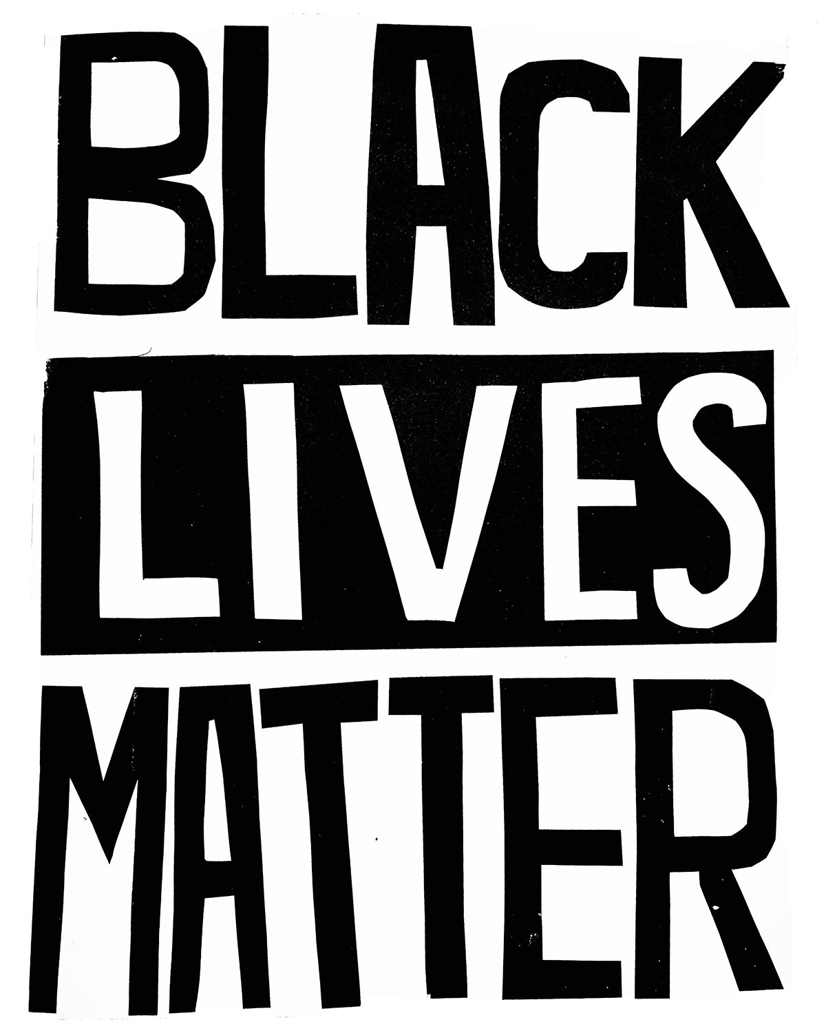 Black cutout letters on white read BLACK LIVES MATTER