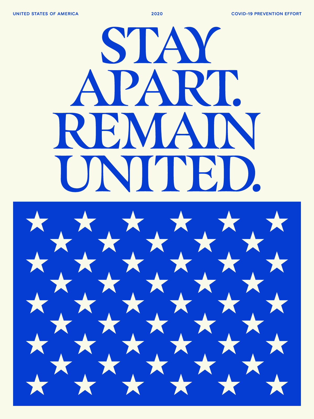 Blue stars with the words STAY APART REMAIN UNITED