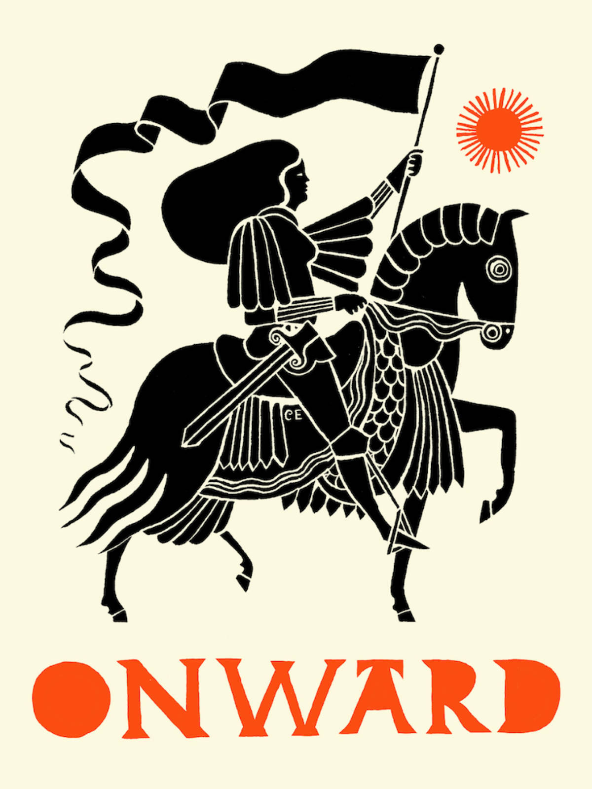 An illustration of a female knight flying a flag while riding a horse.
