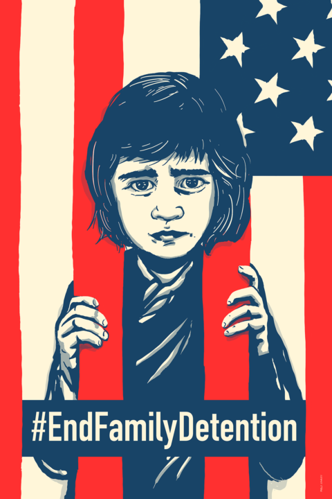 American flag using two bars to confine an illustration of a small boy like a jail cell with the words #EndFamilyDetention.