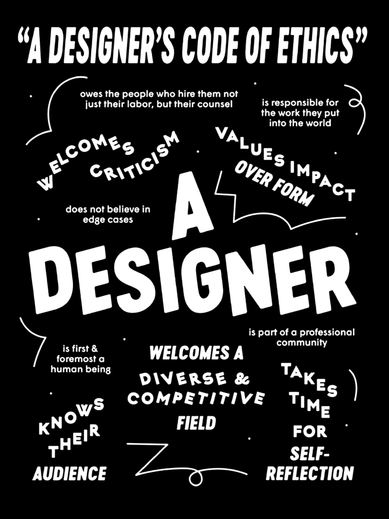 "Black and white poster of various type treatments about ""A Designer's Code of Ethics."""