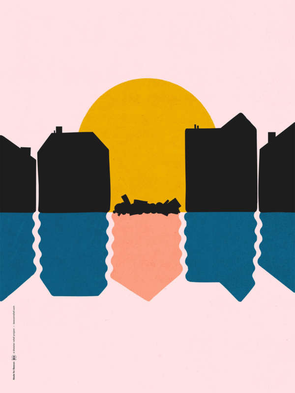 Illustration of a row of houses with one crumbled in the middle in front of a rising sun on a pink backdrop.