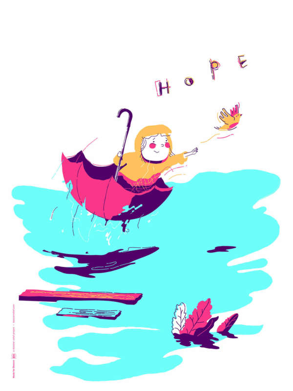 "Illustration of a girl in an upside down umbrella floating in the water reaching for a bird next to the word ""HOPE."""
