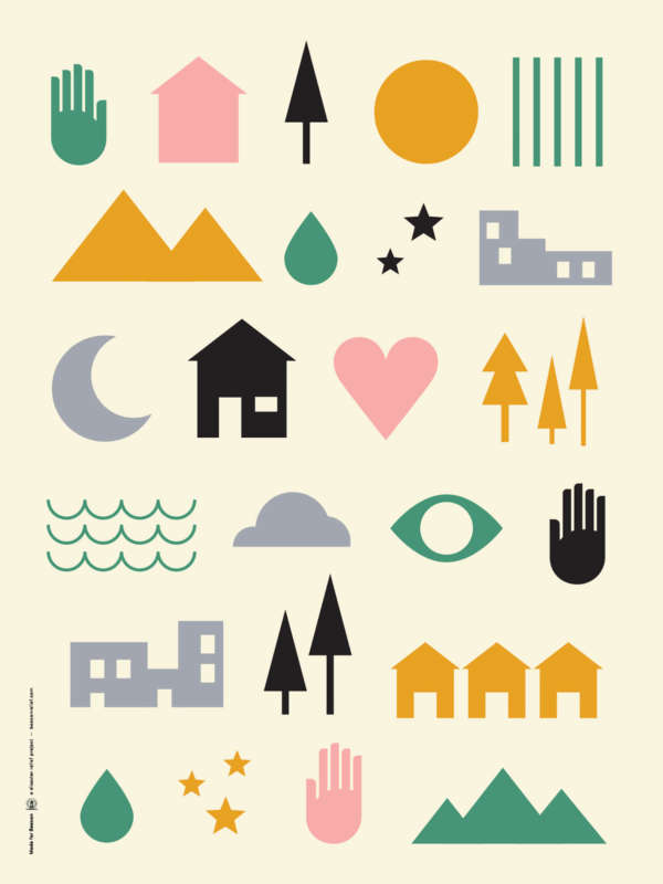 A colorful poster displaying a collection of simple illustrations of hands, houses, mountains, stars, trees, and a heart.