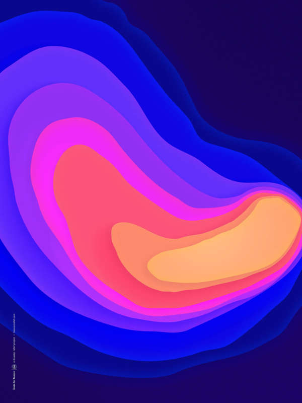 A graphic heat map of a hurricane made of deep blues, pinks, and oranges.