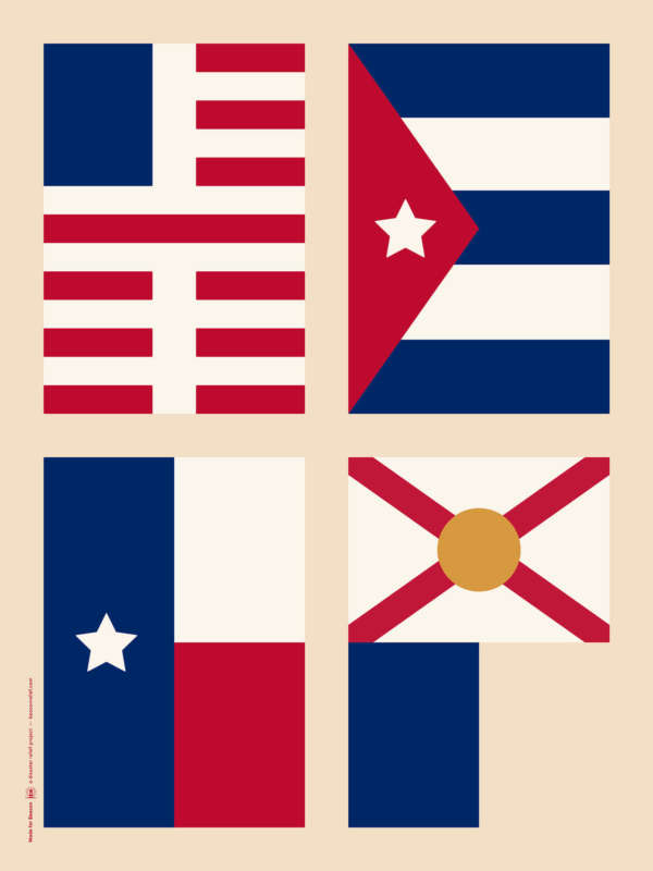 "The word ""HELP"" is a hidden message this poster of stylized flags of the US, Puerto Rico, Texas, and Florida."