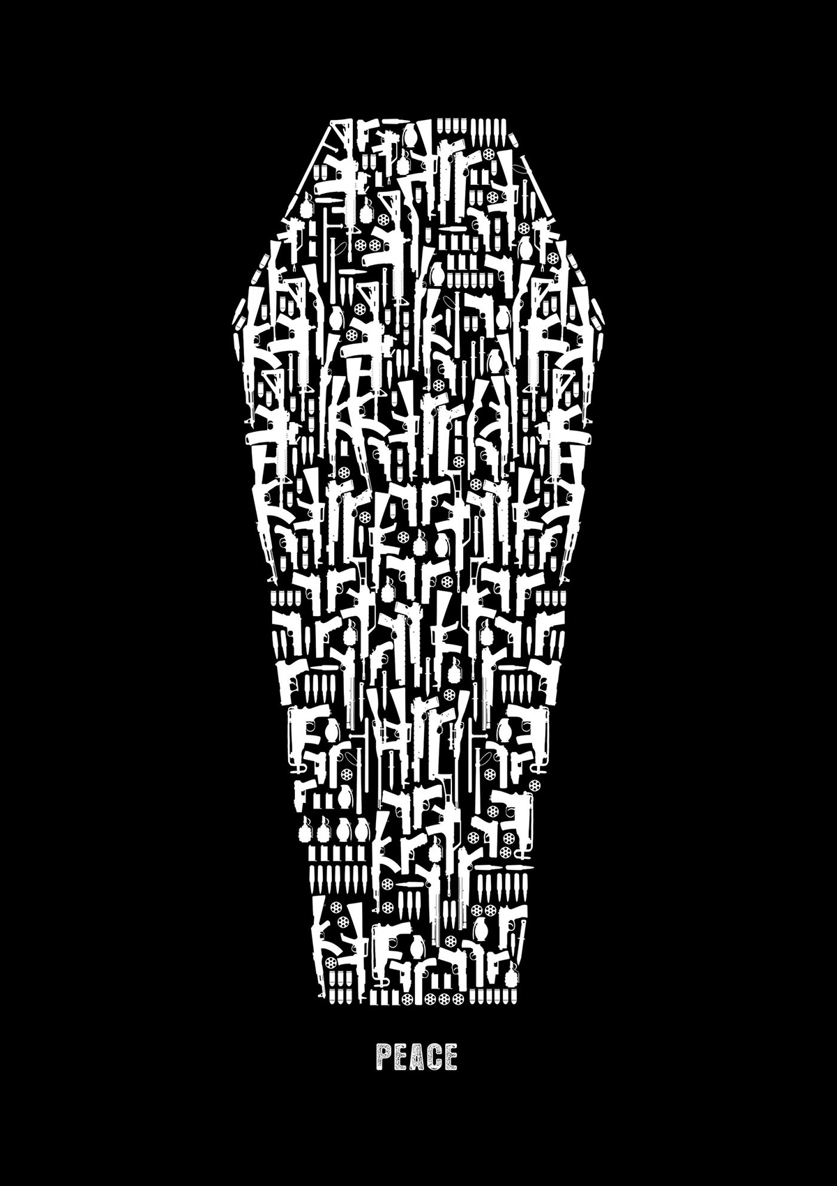 "White shapes of many different types of guns and bombs form a coffin on a black background above the word ""PEACE"""