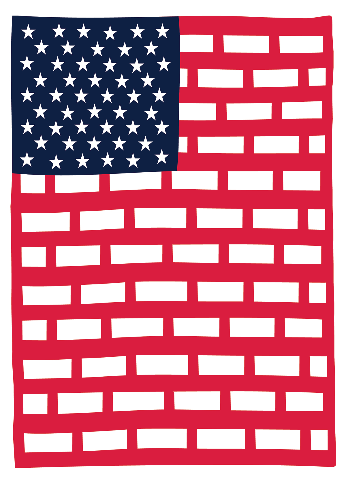 Poster of an America flag with a red wall of bricks instead of the standard stars and stripes.