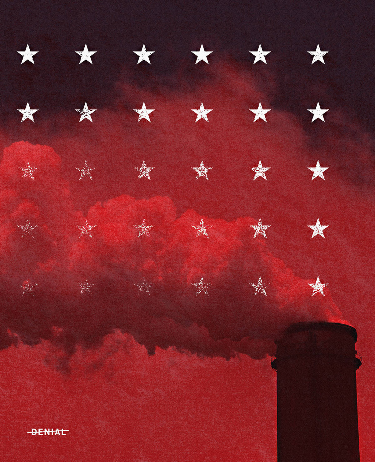 "Photo of a smokestack pours pollution into a red sky with a grid of 30 stars disappearing in the smoke. ""Denial"" lower left."