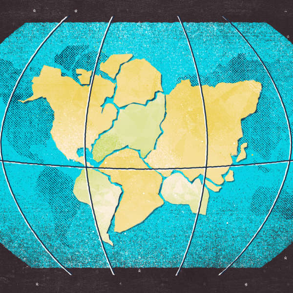 Close up of an illustration of 1 globe with all the continents coming together.