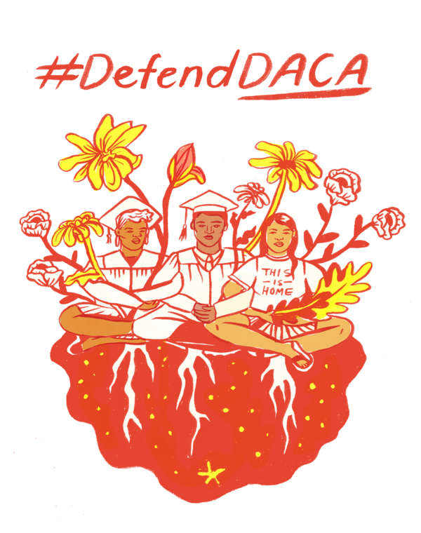 "Illustration of immigrant college students with bright yellow flowers under the words ""#DefendDACA."""