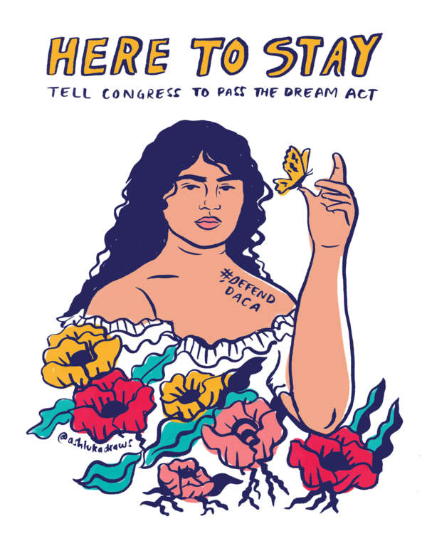 "Young immigrant woman above colorful flowers holding a butterfly under the words ""Here to Stay."""