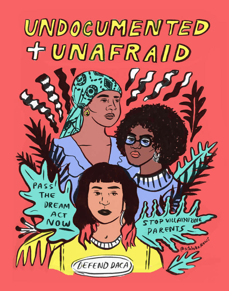 """Black and Latinx immigrants in a colorful illustrated collage of ferns under the words """"Undocumented + Unafraid."""""""