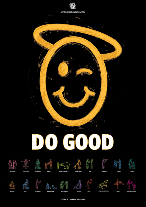 "A gold scribbled smiley face with a halo with the words ""Do Good"" above a collection of small actions to make a difference."