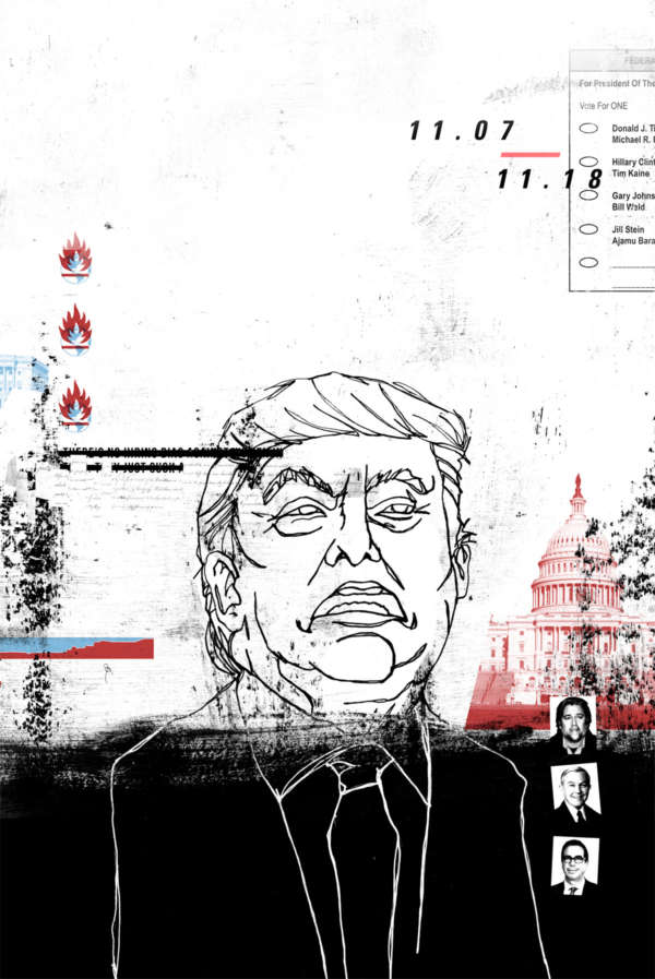 A crude line drawing of Donald Trump next to an image of the US capital, under a 2016 ballot and a series of flame icons.