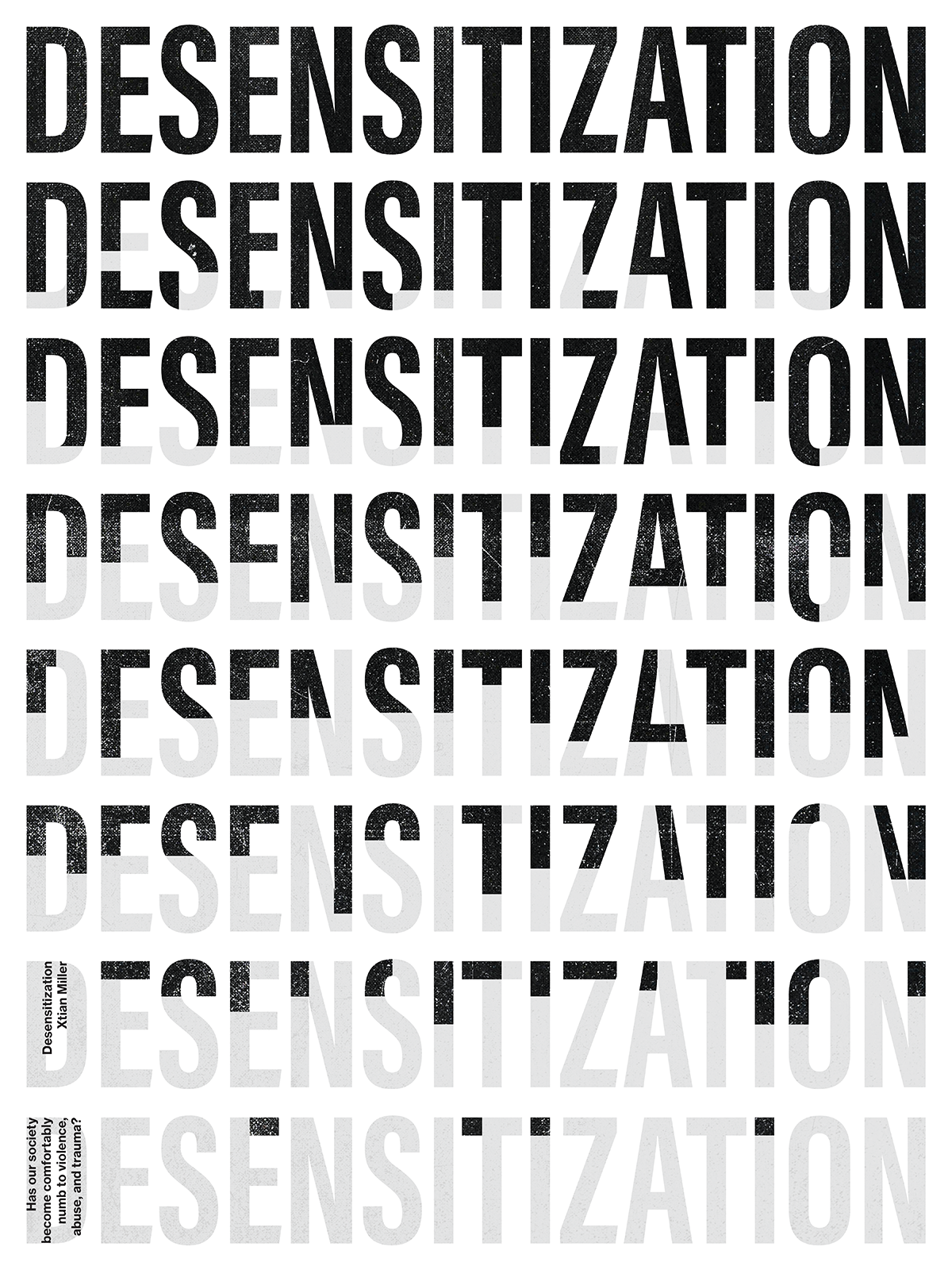 Type poster with the word 'DESENSITIZATION' repeating top to bottom, black to gray.