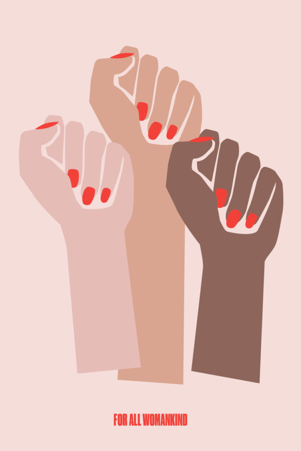 Illustration of 3 female fists (pink, tan, and brown) with red fingernails.
