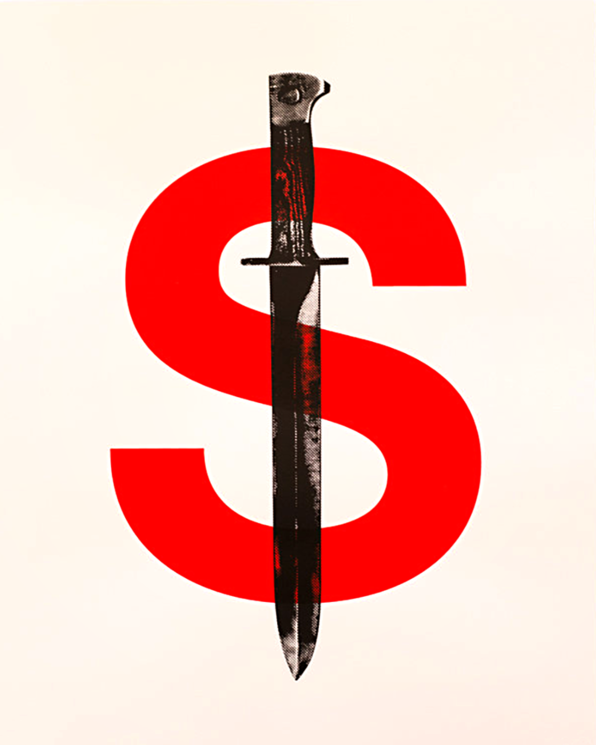 Red 'S' with a black and white dagger placed down the middle forming a dollar sign.