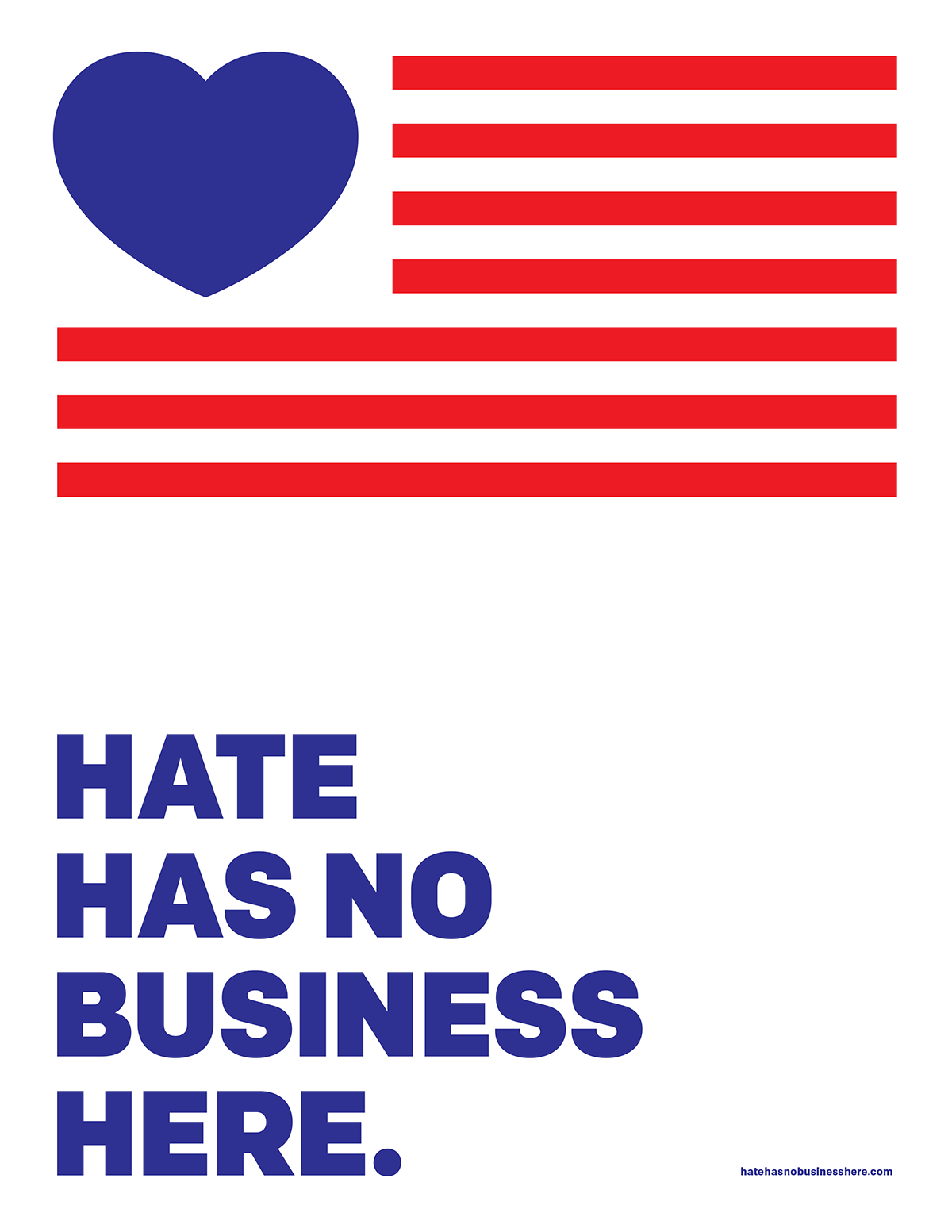 "An America flag with a blue heart above the words ""Hate has no business here."""