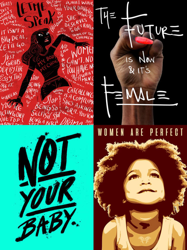"Women's March Posters that say ""Let Me Speak, ""The Future Is Now and It's Female,"" ""Not Your Baby,"" and ""Women Are Perfect."""