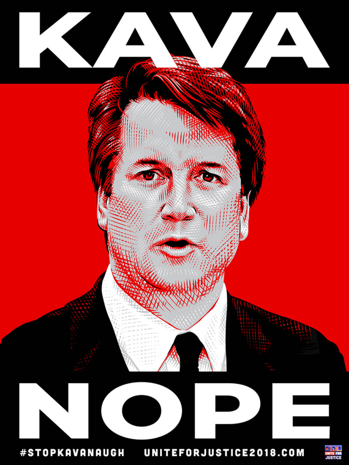 Illustrated etching of Supreme Court Nominee Brett Kavanaugh on a bright red background with text KAVA NOPE.