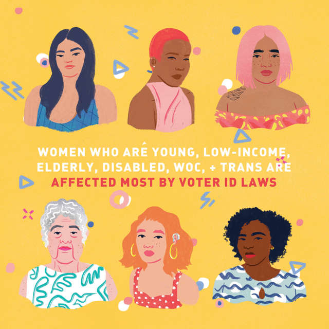 Colorful illustration of minority women who are affected most by voter ID laws.