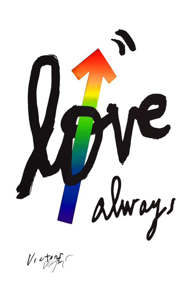 "Gritty black script of the words ""love, always"" with a rainbow arrow pointing up thru the 'o' in love."