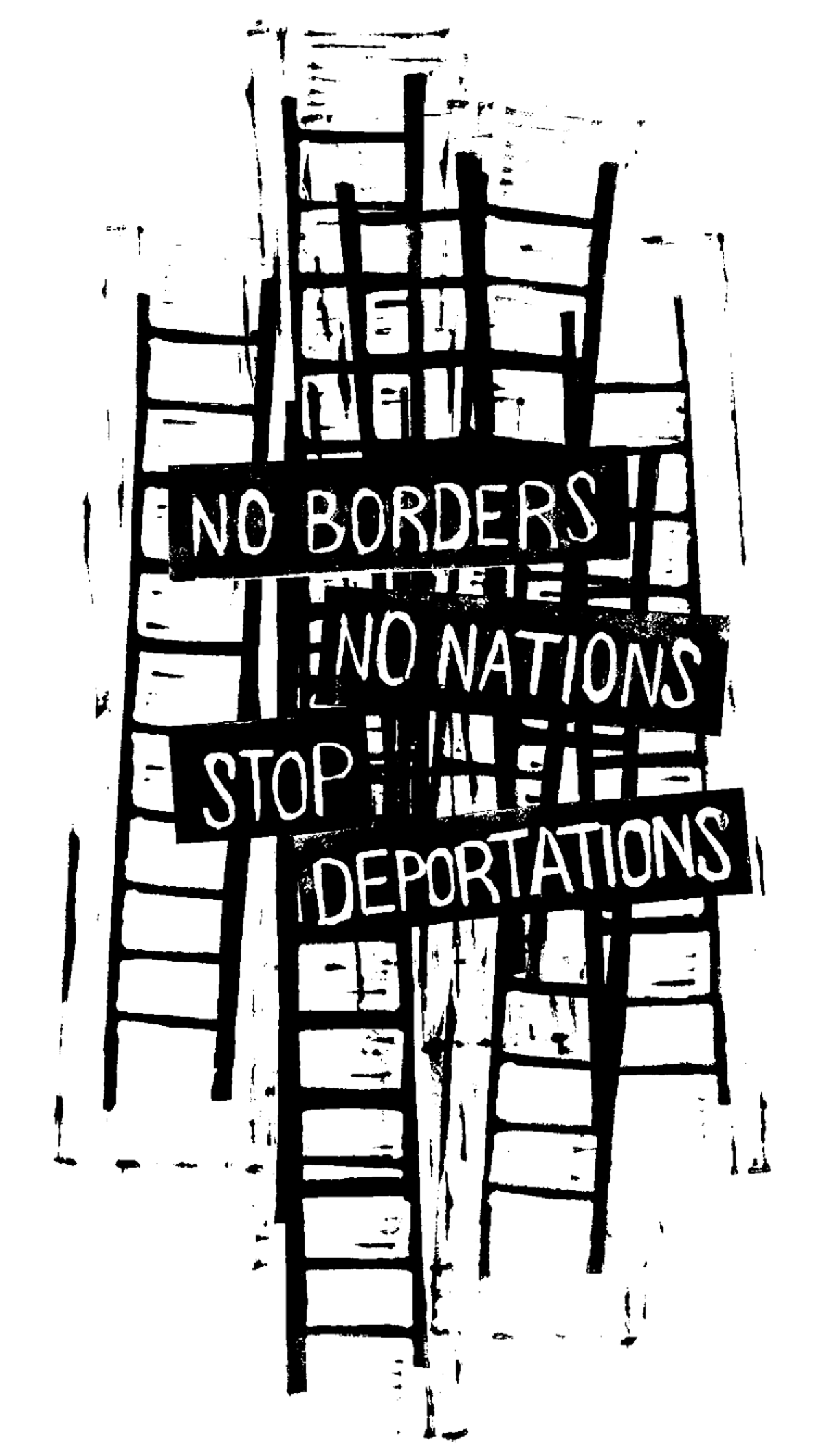 "Gritty black and white illustration of train tracks with the words ""No Boarder No Nations Stop Deportations."""