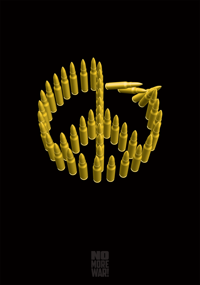 Black poster with bronzed bullets in the shape of a peace symbol falling like dominoes.