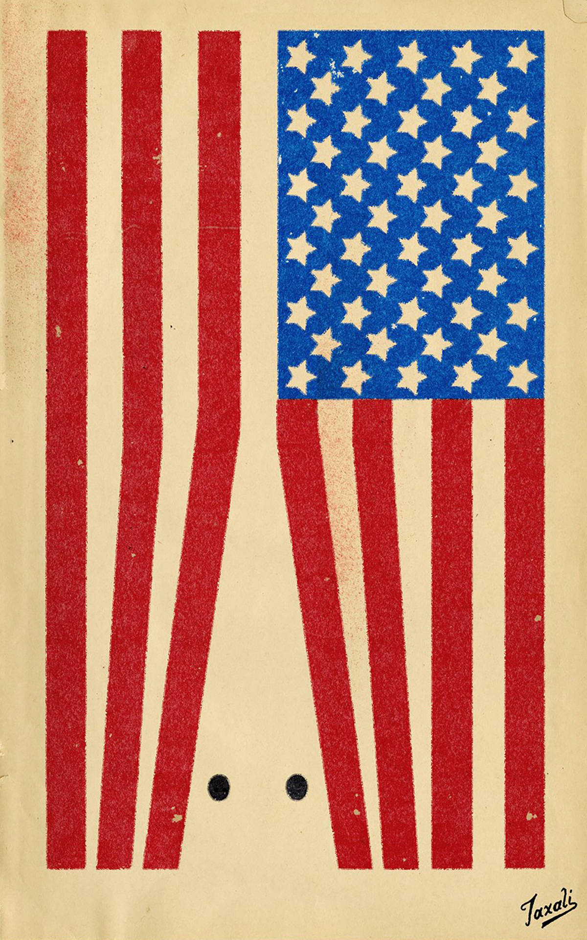 A worn print of an American flag turned on its side. The red stripes form a shape of a KKK hood, 2 black circles for eyes.