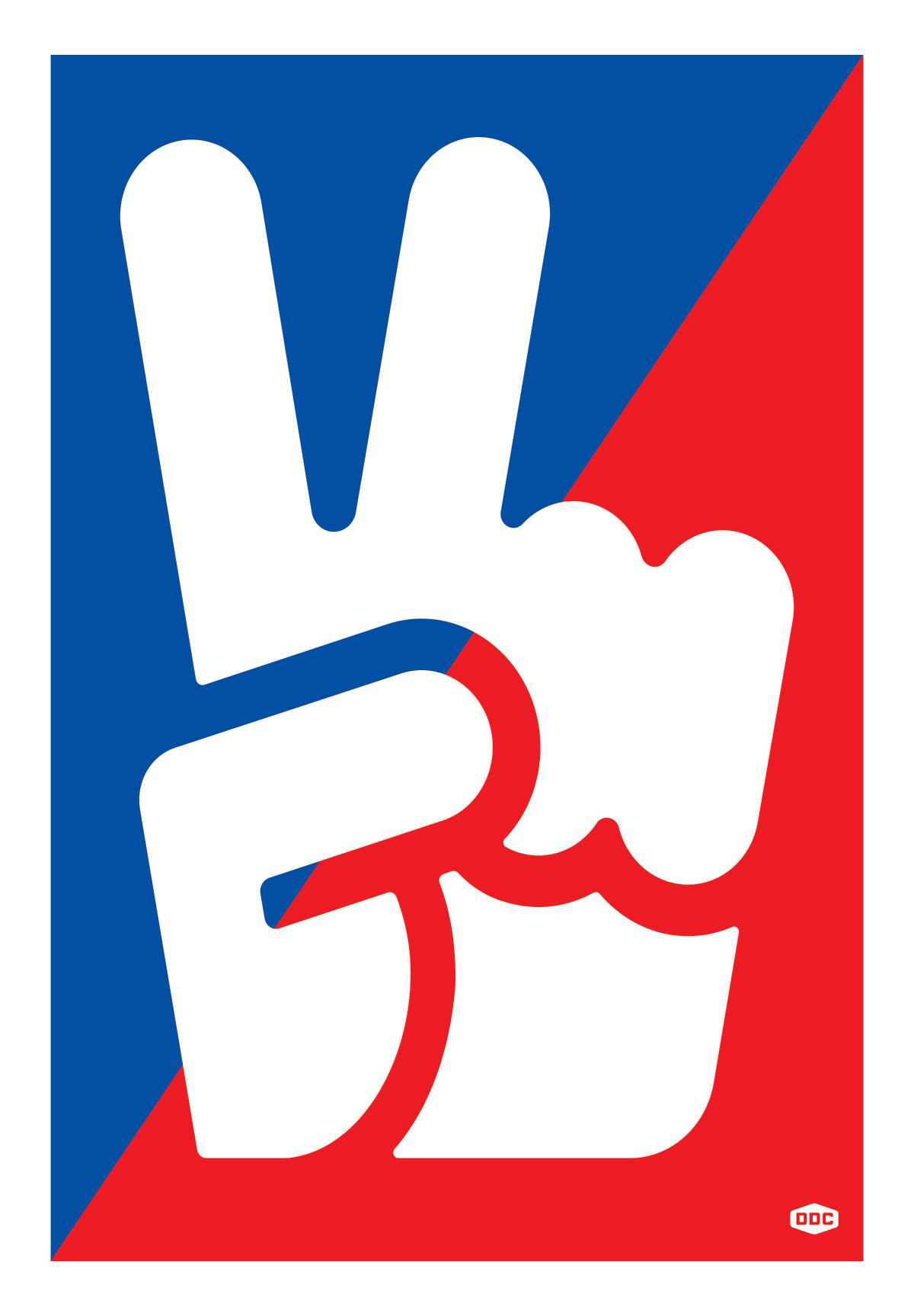 "Screen print of a hand icon giving the ""peace sign"" in the middle of a blue and red ink flood background."