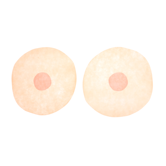 A breast illustration letterpress with 2 peach boobs on a white background.