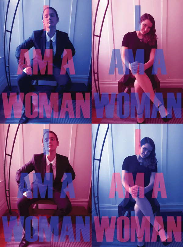 Four photos with one person who looks like a man another person looks like a woman, type over both reads I AM A WOMAN.