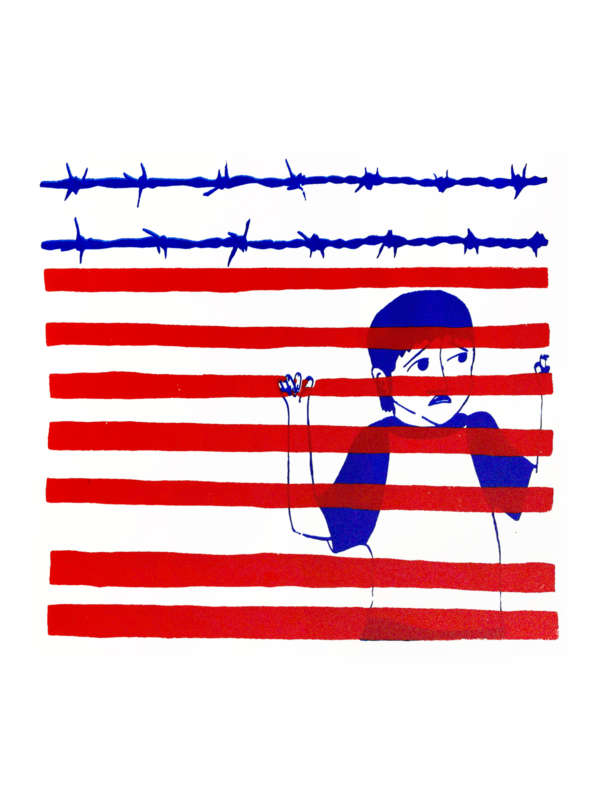 Illustration of a young boy who is trapped behind a red fence with blue barbed wire that looks like an American Flag.