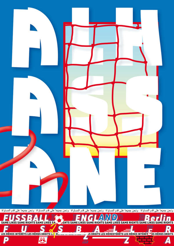 """Typographic white, and blue poster that says """"Alhassane."""""""