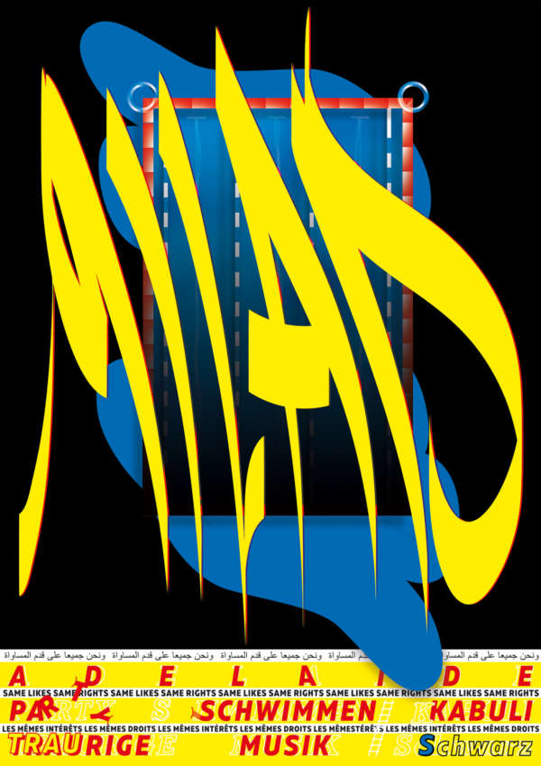 "Typographic black, blue, and yellow poster that says ""Milad."""