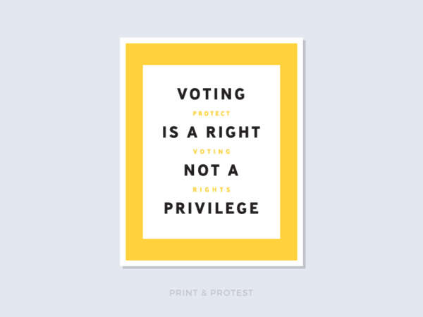 "Bold yellow poster reads ""Voting Is A Right Not A Privilege"" and ""Protect Voting Rights."""