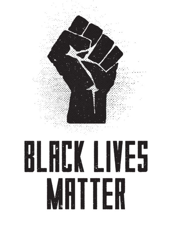 "Poster of a fist above the words ""Black Lives Matter."""
