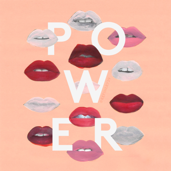 "Illustration of many different female lips surrounding the word ""Power."""