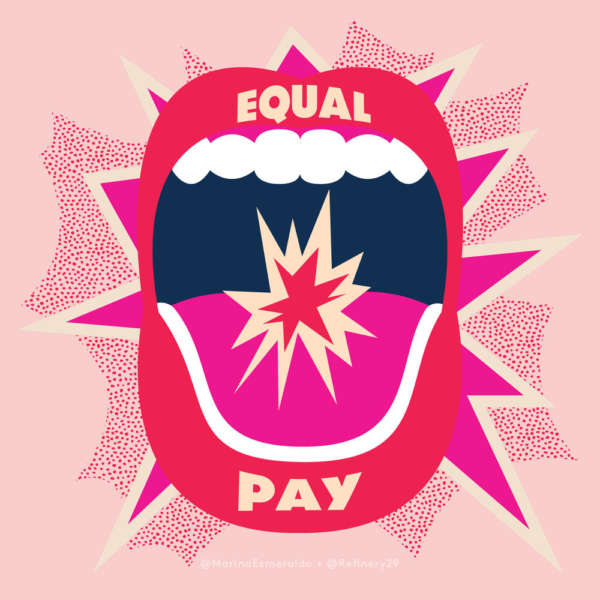 "Illustration of red lips shouting ""Equal Pay."""