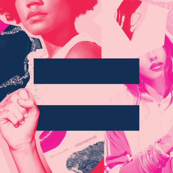 Cutout female faces and a fist surround an equality symbol.